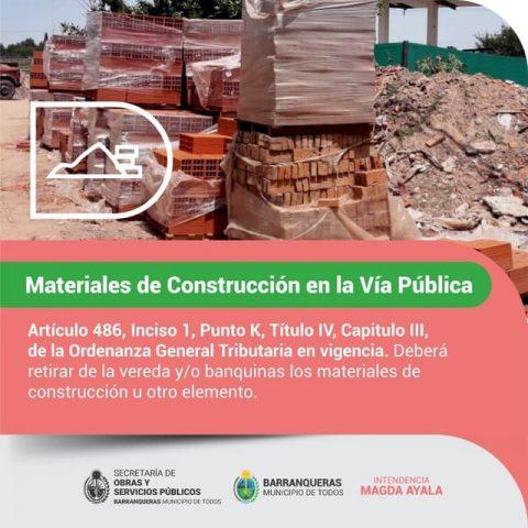 Materiales en la vía pública